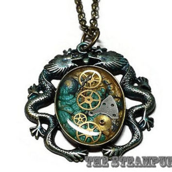 Blue and Gold Steampunk Dragon Pendant Necklace Steampunk Jewelry Blue and Gold Steampunk Dragons Necklace, Steampunk Jewelry