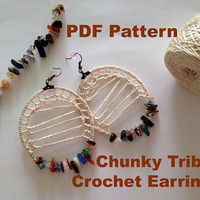 Crochet Pattern Chunky Earrings, DIY Jewelry Tutorial, Tribal Hoop Earrings, Instant Download Beaded Hoops, PDF Pattern Gypsy Earrings