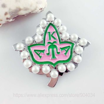 Womens AKA 20pearl pink and green enamel brooch Alpha K Alpha Sorority pin - Free Shipping