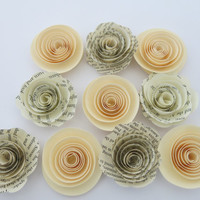 "Ivory and Book page paper flowers, 10 piece set, 1.5"" roses, rustic wedding theme, cream baby shower decor, place setting favors table decor"