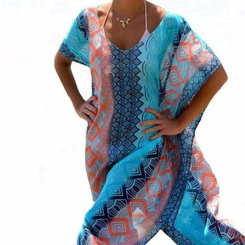 DKLW8 2017 Beach Dress Kaftan Beach Sarongs Sexy Cover-Up Chiffon Bikini Swimwear Tunic Swimsuit Bathing Suit Cover Ups Pareo