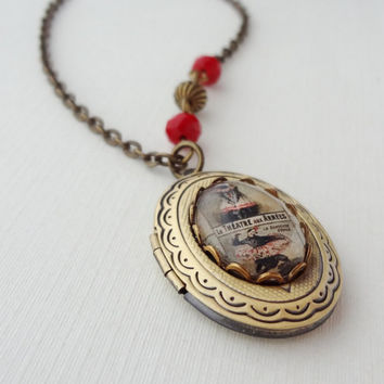 Vintage Inspired Theatre Arts Locket in Antique Brass. Whimsy. Red. Long Necklace