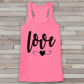 Womens Valentine Shirt - Cute Valentine's Day Tank Top - Women's Happy Valentine's Day Tank - Love Heart Valentines Shirt - Pink Tank Top