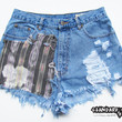 Studded Shorts - Size Large - Tribal Patch - Shredded Shorts - Distressed Shorts