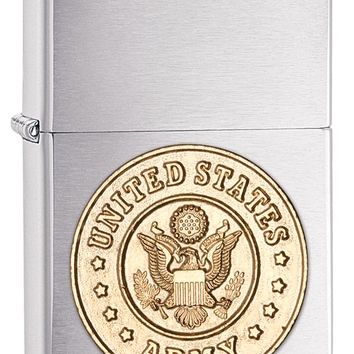 Zippo Army Emblem Brushed Chrome  Cigarette Lighter