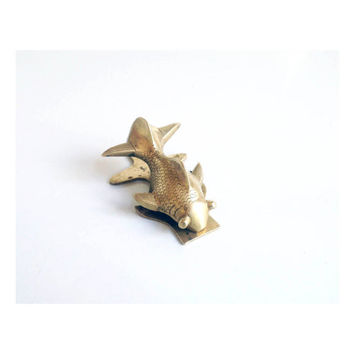 Vintage Brass Goldfish Wall Clip / Fish Note Clip