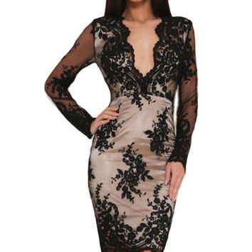 Black Floral Lace Overlay Lined Mini Dress