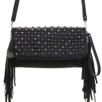 ICIKAB3 Double J Saddlery Black Leather Clutch with Fringed Sides SC50
