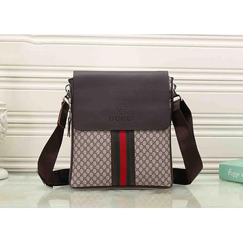 Gucci Popular Women Men Shopping Red Blue Stripe Letter Print Leather Crossbody Satchel Shoulder Bag Briefcase Brown I-KSPJ-BBDL