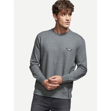 Men Zip Side Patched Sweatshirt