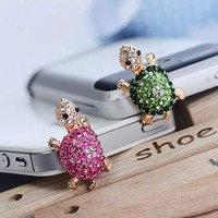 Fashion Style Cute Turtle Shape Design Mobile Phone Ear Cap Dust Plug For Iphone For Samsung 3.5mm Earphone Dust Plug