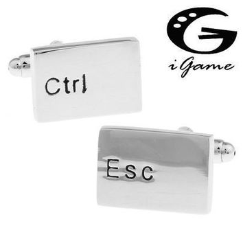 iGame Men Gift Keyboard Cuff Links &retail Silver Color Copper Material Novelty Esc & Ctrl Design