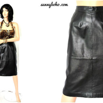 80s black leather skirt size M 7 / 9 high waisted 1980s leather pencil skirt butter soft genuine  leather gorgeous black mid length skirt