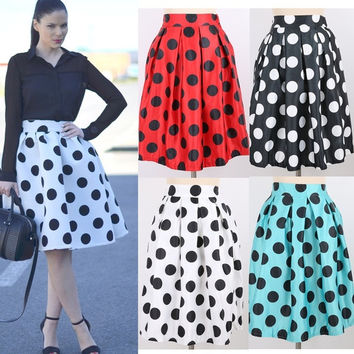 Fashion Polka Dots Pleated Skirts High Waist Skirts For Women One Size = 1946622980