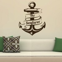 Nautical Anchor Logo Sign Bathroom Sea Ocean Wall Vinyl Decal Art Sticker Home Modern Stylish Interior Decor for Any Room Smooth and Flat Surfaces Housewares Murals Graphic Bedroom Living Room (2473)