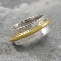 Sterling Silver And Gold Rotating Ring Set