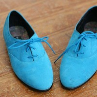 Vintage Blue Suede Oxford Flats Shoes Lace up 6 by heartcity