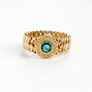 Vintage Blue Glass Stone Expansion Bracelet - Mid Century WWII 1940s Gold Plate American Queen Pitman Keeler Stretch Sweetheart Jewelry