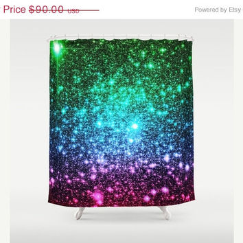 SALE Galaxy Shower Curtain, Cool Tone Ombre, Astral Glitter Shower Curtain, Bathroom Decor, Home Decor, Blue Pink Green, Colorful Galaxy
