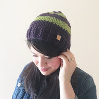 Striped custom chunky knit beanie in - classic fit - in royal blue, hot pink, apple green, violet, emerald green, or dark purple