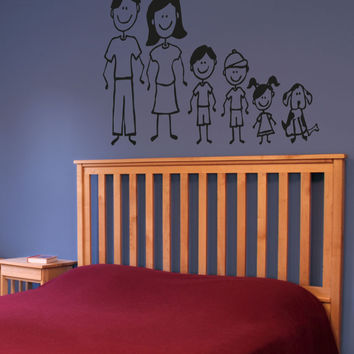 Vinyl Wall Decal Sticker Stick Figure Family #5030