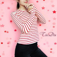 Fashion new style women tops tees O-neck cotton t shirt 2018 Spring winter autumn long sleeve striped sexy female  casual tshirt