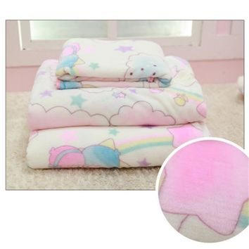Sanrio Little Twin Stars Soft Flannel Blanket Bed Sheet Room Decor Xmas Gift