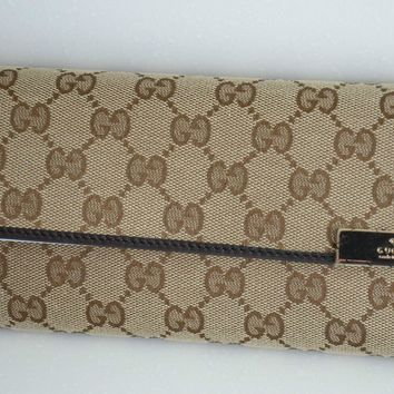 One-nice™ $570 NEW 2015 GUCCI ZIP AROUND GG SOHO BROWN CANVAS LEATHER WALLET ORGANIZER