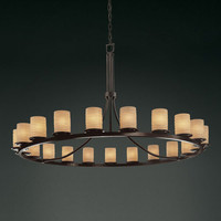 Justice Design Group POR871610WAVEMB Limoges Dakota 21-Light Matte Black One-Tier Ring Chandelier - (In Matte Black)