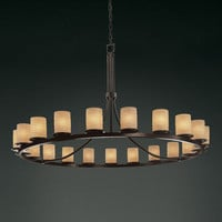 Justice Design Group POR871610WAVEDB Limoges Dakota 21-Light Dark Bronze One-Tier Ring Chandelier