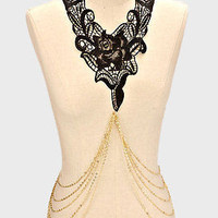 """24"""" gold lace choker collar bib necklace floral body chain"""