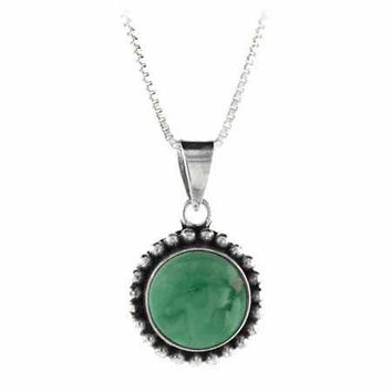 Sterling Silver Genuine Variscite Stone Bali Beaded Circle Pendant