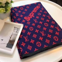 Best Online Sale Luxury Louis Vuitton LV x Supreme Keep Warm Scarf Soft Scarves Winter Wool Beautiful Shawl #2