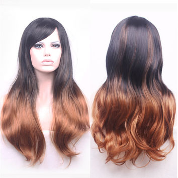 68cm Fashion Sexy Long Curly Wavy Cosplay Tilted Frisette Women Wigs Hair Wig Girl Gift Black Brown Ombre