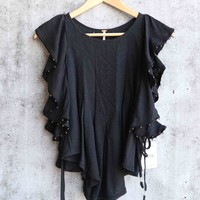 free people - tiny bells tank top - black
