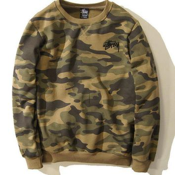 ESBON Stussy Winter Unisex Camouflage Round-neck Long Sleeve Sports Sweatshirt