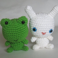 Frog and Bunny Amigurumi Crochet Toys Rattle