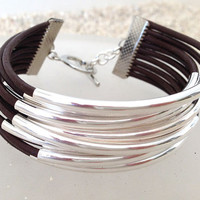 Brown and silver leather and tube bracelet