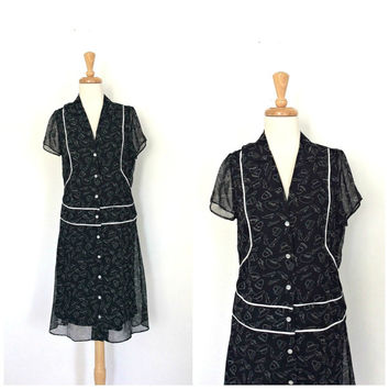 Vintage Drop Waist Dress - 80s dress - black and white - flutter sleeve -  knee length - M L