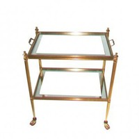 Hollywood Regency Brass Bar Cart Tea Trolley Maison Jansen Style | VintageModern - Furniture on ArtFire