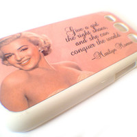 Samsung Galaxy S3 Case Cell Phone Cover - Marilyn Monroe Quote - shoes conquer the world