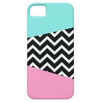 Miami 80's pastel pink blue chevron pattern design cover for iPhone 5/5S