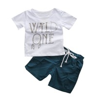 Set Letter Boy T-shirt Tops Short Sleeve Pants Leggings 2pcs Outfits Clothing Baby Boy