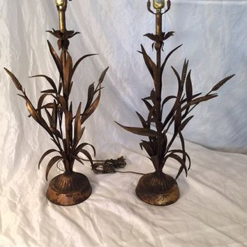 Pair of Vintage Gilt Wheat Sheaf Table Lamps