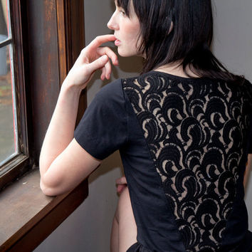 Thoughtful Lace Shirt  black boat neck sheer short by Minxshop