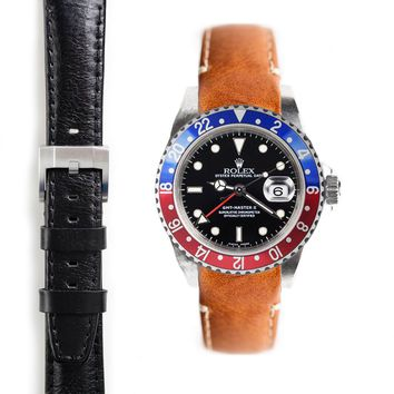 Everest Curved End Leather Strap with Tang Buckle for Rolex GMT Master I and II
