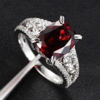 Cushion Garnet Engagement Ring Pave Diamond Wedding 14K White Gold 8x10mm  Antique Style