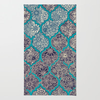 Moroccan Floral Lattice Arrangement - teal Area & Throw Rug by micklyn | Society6
