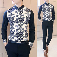 Geometric Print Long Sleeve Collared Shirt SOS