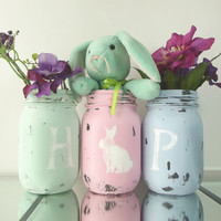 Easter, Home Decor - Hand Painted Mason Jars | Rustic - Style, set of 3, Pint - Painted Jars